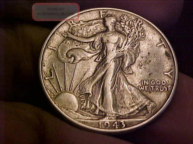 1943 - P Walking Liberty Silver Half Dollar.  Details.  Higher Grade Half Dollars photo