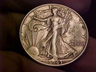 1943 - P Walking Liberty Silver Half Dollar.  Details.  Higher Grade photo