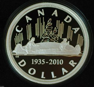 2010 Canada Ltd Edition Proof Silver Dollar 1935 - 2010: 75th Anniversary Dollar photo