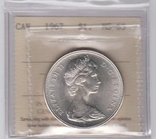 1967 1$ Centennial Silver Canada Iccs Kf277 Graded Ms63 photo