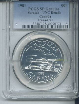 1981 Canada Tran - Con Silver Dollar - Pcgs Sp /scratch Unc Details/.  375 Slv photo
