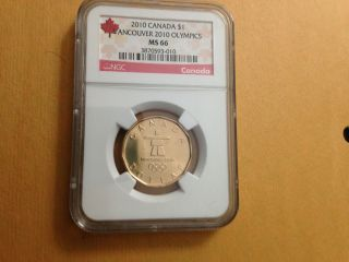 2010 Vancouver Olympics Canada Dollar Loonie Ngc Graded Ms 66 photo