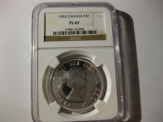 1963 Canada Dollar Ngc Pl67 photo