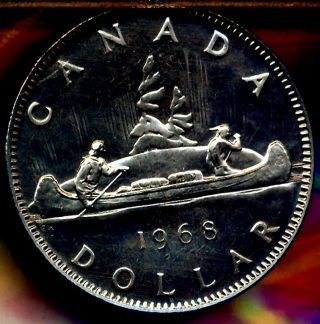 1968 Canadian Dollar Gem Prooflike With Deep Black Mirrors Special Buy $6.  00 photo