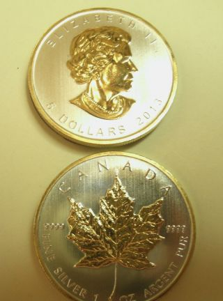 1 - 2014 9999 Fn Can Silver Maple Leaf $5 Coinw/24kt Sel Gold Gilded,  Buy Gift photo
