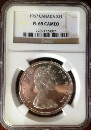 1967 Canadian Silver Dollar Ngc Pl 65 Cameo,  Certified Gem Prooflike photo