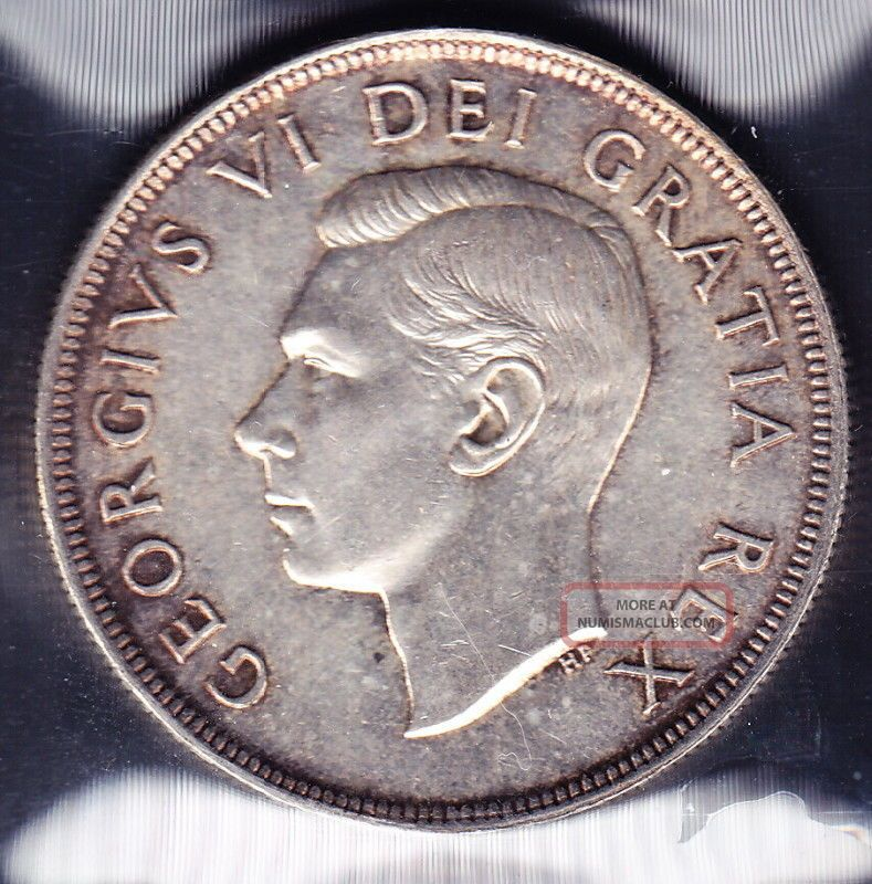 1949 Canada Iccs Graded Silver 1 Dollar Coin Ms 62
