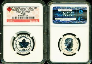 2015 $3 Canada Silver Maple Leaf Incuse Ngc Pf70 Ucam Reverse Proof 1/4 Oz Pr70 photo