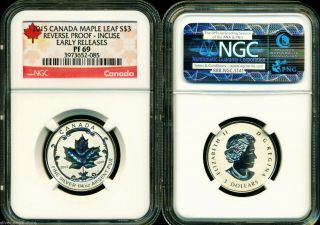2015 $3 Canada Silver Maple Leaf Incuse Ngc Pf69 Ucam Reverse Proof 1/4 Oz Pr69 photo
