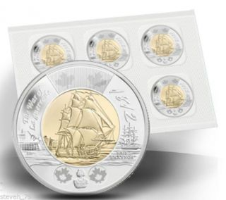 Pack Of 5x 2012 $2 Hms Shannon Canada 2 Dollars photo