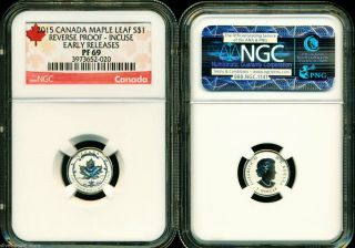 2015 $1 Canada Silver Maple Leaf Incuse Ngc Pf69 Ucam Reverse Proof 1/20 Oz Pr69 photo