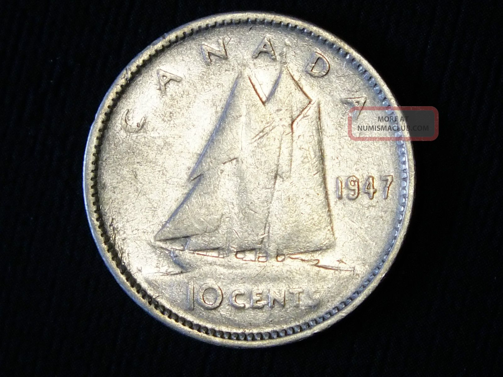 1947 Canadian Silver Ten Cent Coin Pictured You Will Receive
