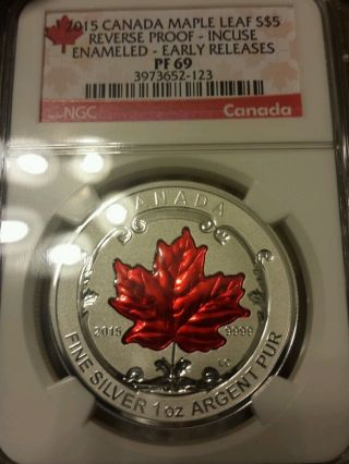 2015 $5 Canada Silver Maple Leaf Ngc Pf69 Er Reverse Proof Incuse Enameled 1 Oz photo