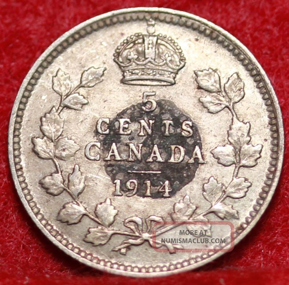 1914 Canada 5 Cents Silver Foreign Coin S H