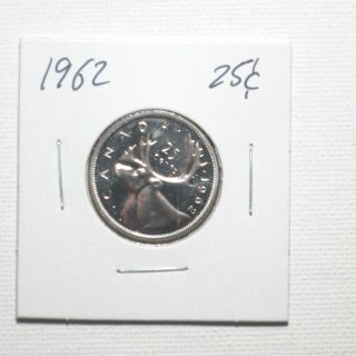 Canadian Silver Twenty Five Cent Coin Year 1962 photo