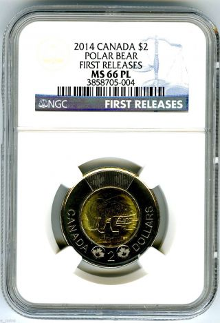 2014 Canada $2 Polar Bear Toonie Ngc Ms66 Pl Proof Like First Releases Top Pop photo