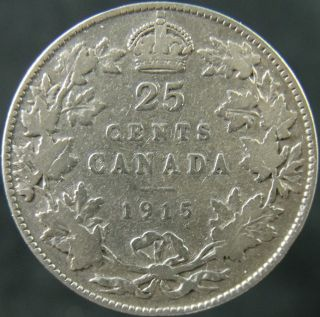 1915 Canada Twenty Five Cents Rare Key Date Circulated photo