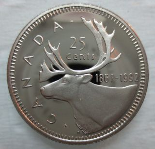1867 - 1992 Canada 25 Cents 125th Confederation Anniversary Proof Coin photo