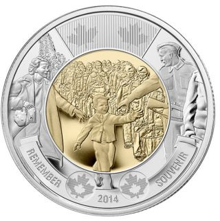2014 Canada $2 Twoonie - Wait For Me Daddy [mint 1 Coin] In Hand photo