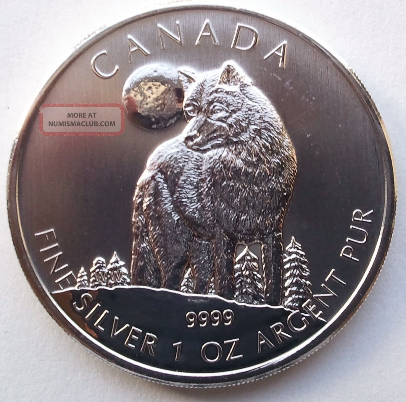 2011 1 Oz Silver Timber Wolf Canadian Wildlife Series