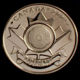 Scarce 2004 Canada 25 Ct Test Token No Color Poppy Rare photo