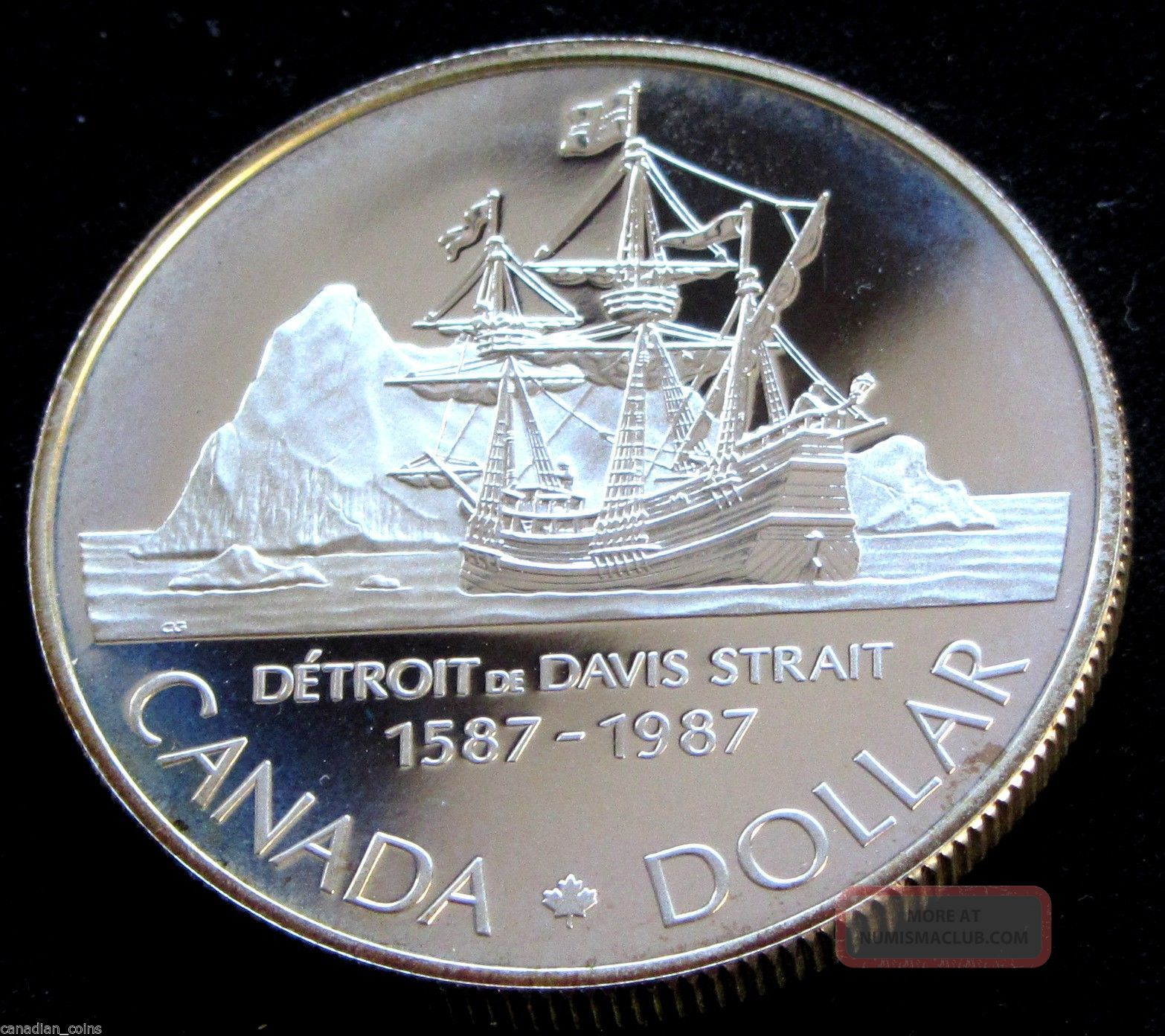 Canada 1 1987 Proof Silver Dollar Deep Cameo Davis Strait Rcm Collector Coin