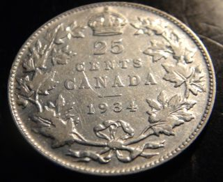 1934 Canada Silver 25¢ Coin – – George V Twenty - Five Cents (quarter) photo
