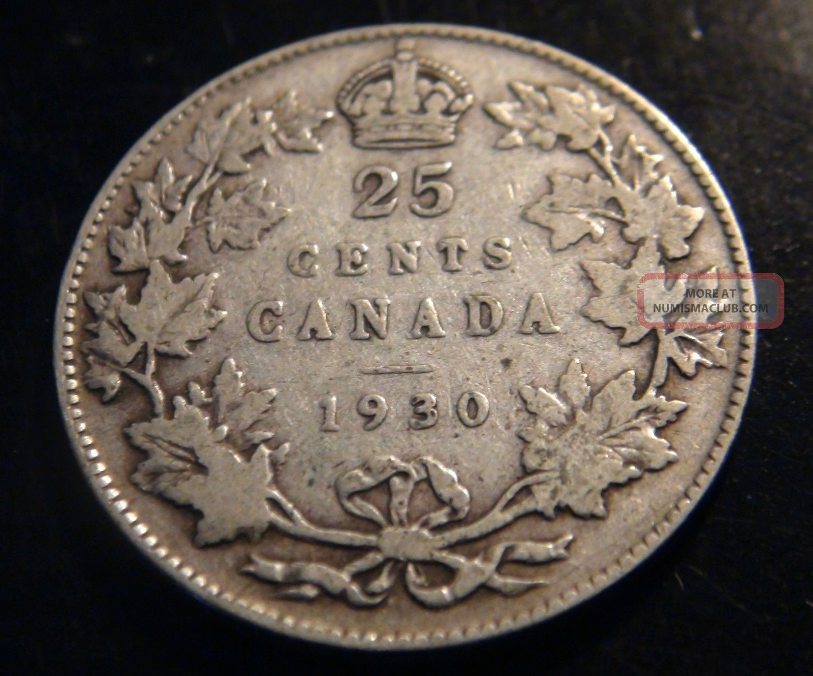 1930 Canada Silver 25 162 Coin George V Twenty Five