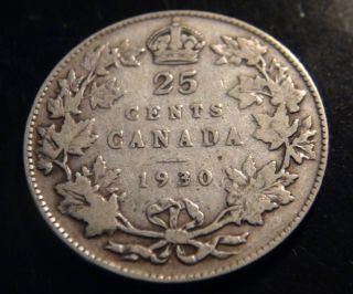 1930 Canada Silver 25¢ Coin – – George V Twenty - Five Cents (quarter) photo