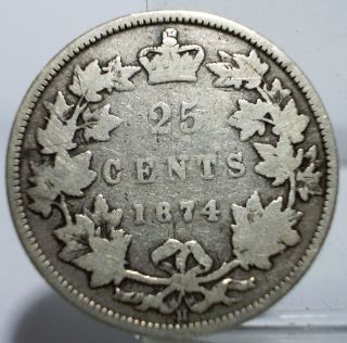 1874h Canada 25 Cents Victoria Dei Gratia Regina Silver Coin Circulated photo