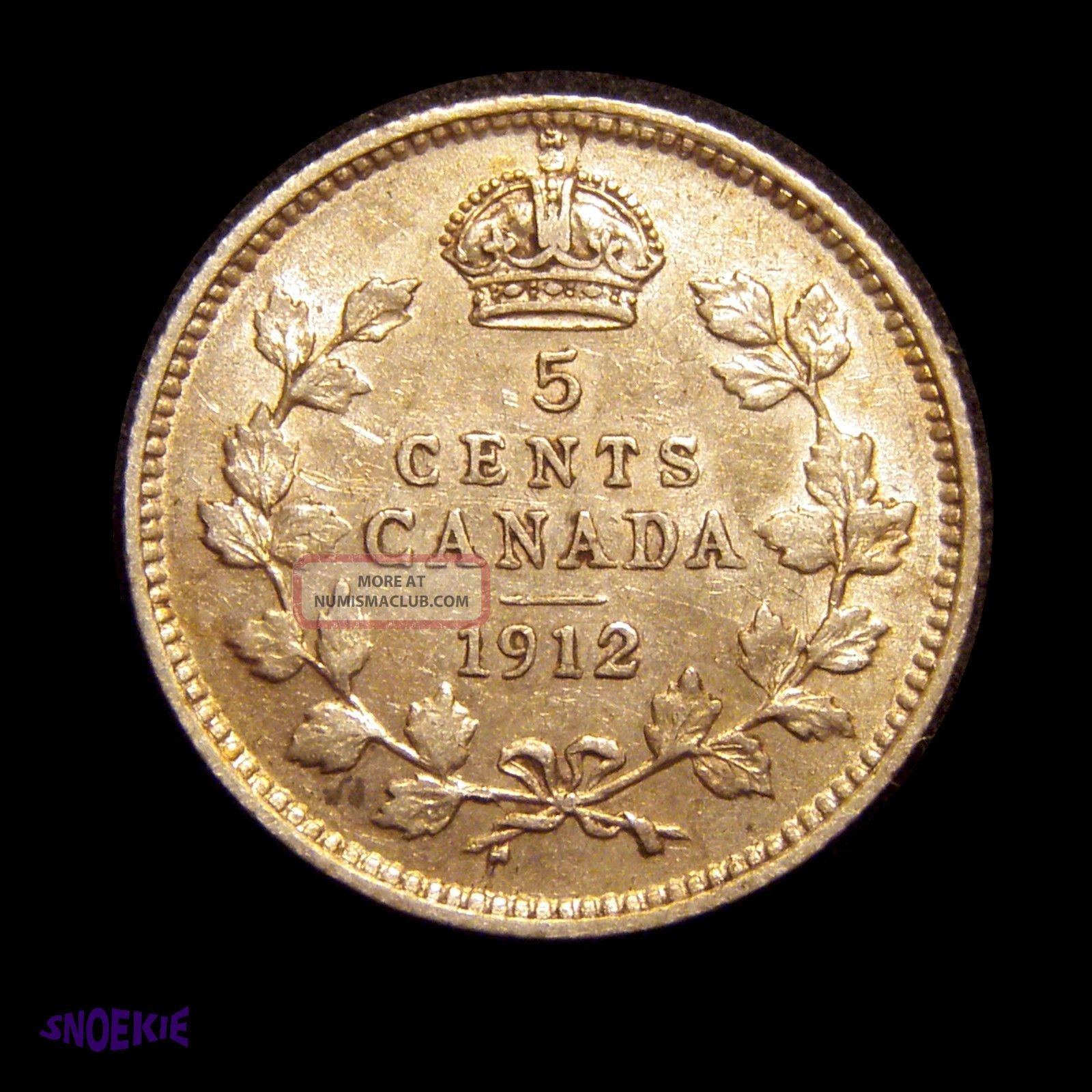1912 Cda Silver 5 Cent Coin George V Vf Gorgeous Champagne Toning