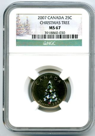 2007 Canada 25 Cent Ngc Ms67 Christmas Tree Quarter Rare 10,  000 Minted photo