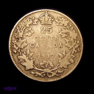 1917 Cda Silver 25 Cent Coin (george V),  G,  Decent Filler photo