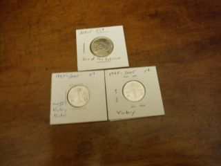 Canada 2005 25cent Coin And 2 - 1945 - 2005 Wwii Victory Nickels photo