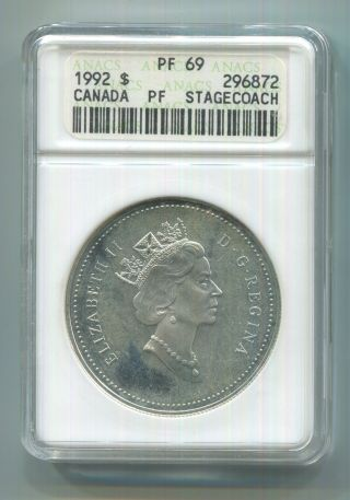 1992 $1 Stagecoach Dc (proof) Silver Canada Dollar Anacs Pf - 69 Km 210 photo