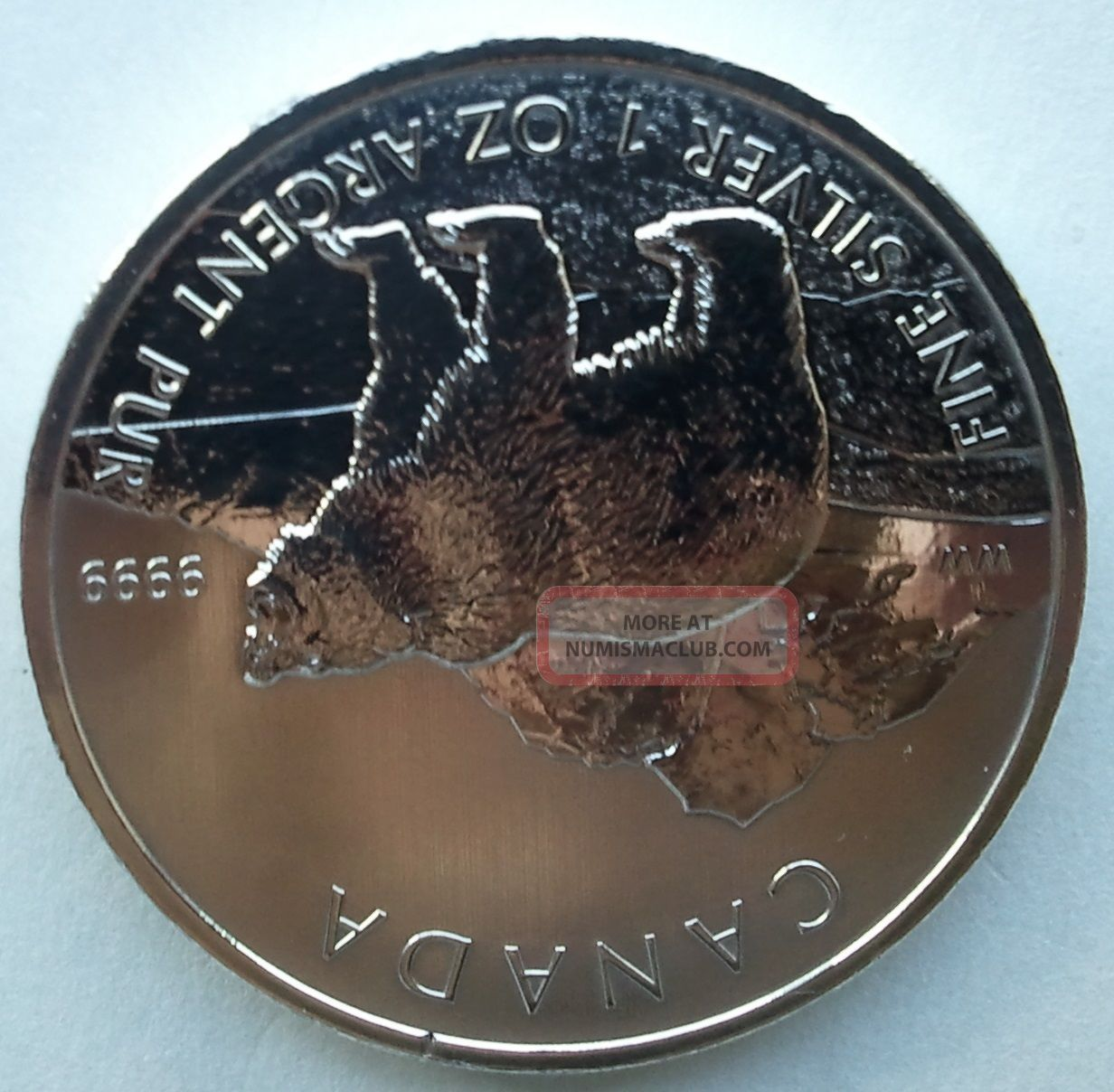 2011 1 Oz Silver Grizzly Bear Canadian Wildlife Series