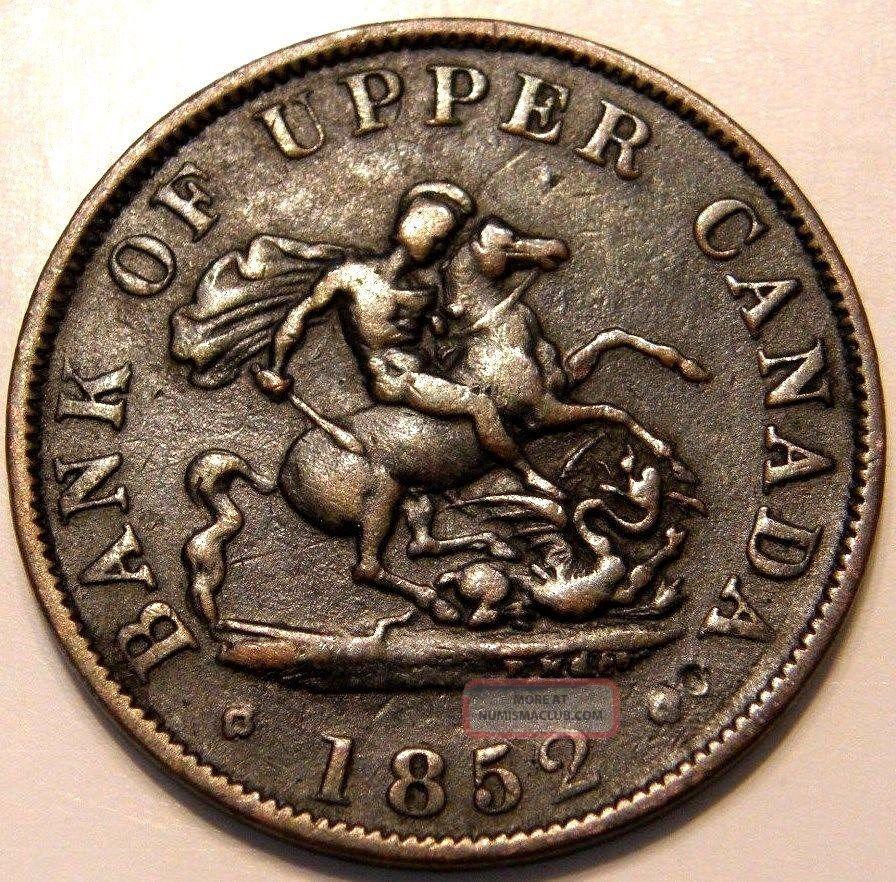 1852 Bank Of Upper Canada One Half Penny Token Dragon Slayer