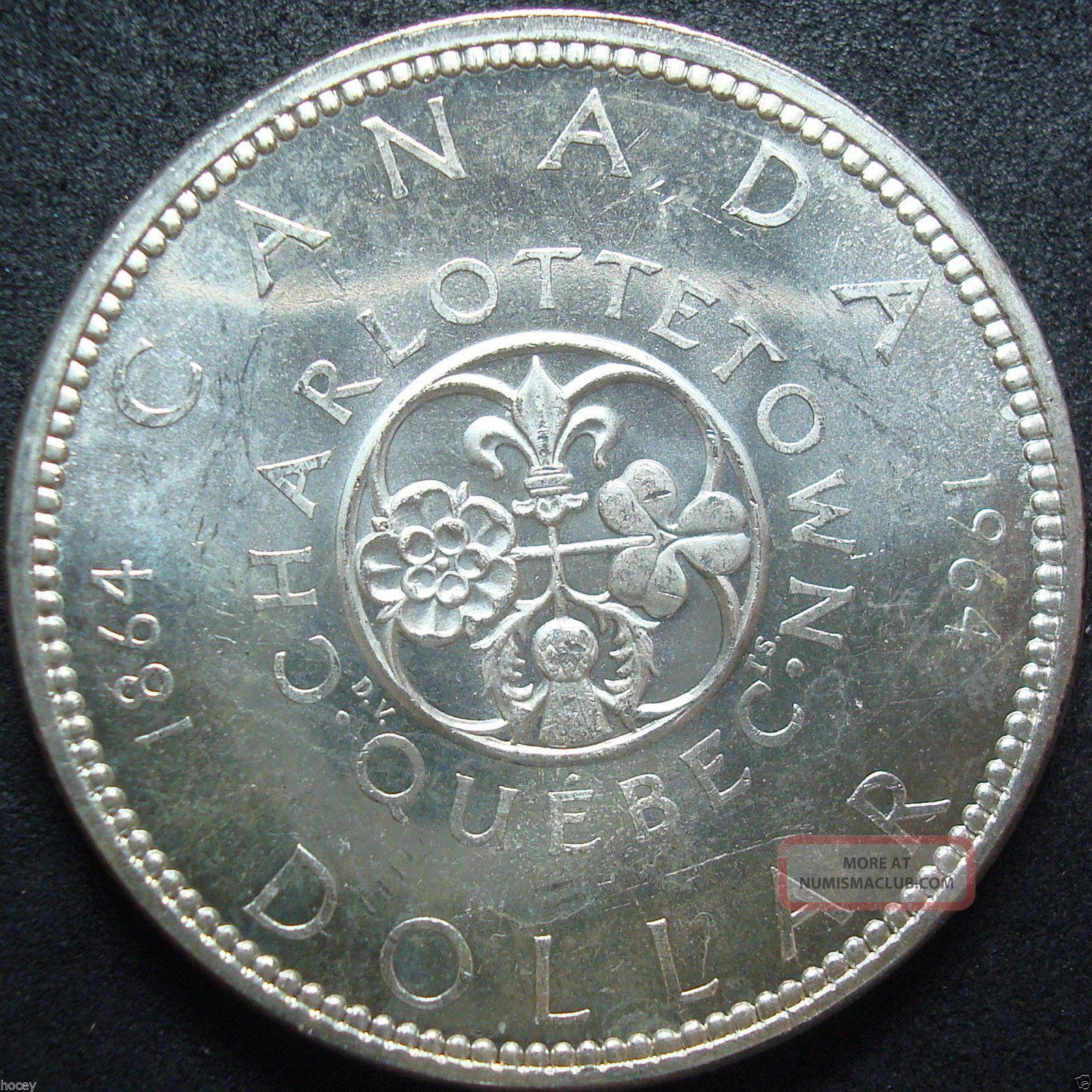 1964 Canada Charlottetown Quebec Silver Dollar Coin