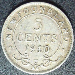Very Fine 1940C Canada Newfoundland Silver 5 Cents
