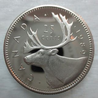 1989 Canada 25 Cents Proof Quarter Coin photo
