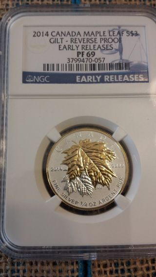 2014 $3 Canada 1/4 Oz Silver Maple Leaf Gilt Gold Ngc Pf69 Ucam Reverse Proof photo