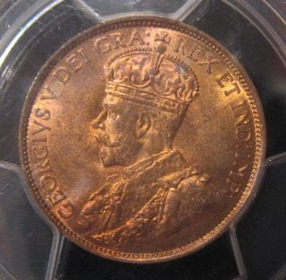 1913,  Canada Large Cent,  George V,  Pcgs Ms 63rd,  Red Toning Luster photo