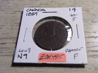 1859 Canadian Large Cent -,  Some Damage Zbh495 photo