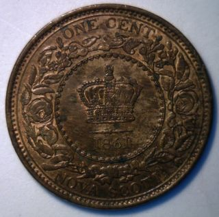 1861 Canadian Nova Scotia Bronze Large Cent Coin Canada One Cent Ms photo