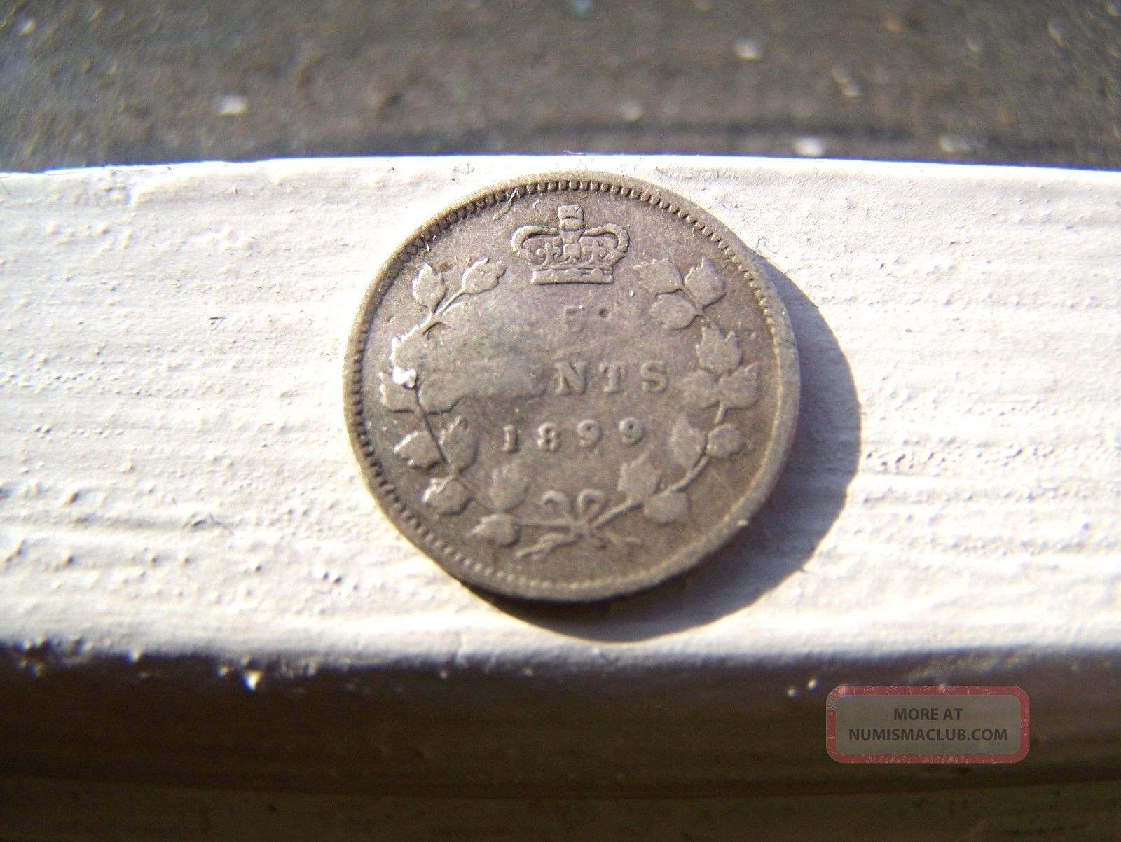 Scarce Old 1899 Canada Canadian Silver Victoria 5 Cent Coin