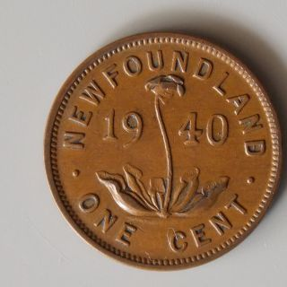 1940 Re - Engraved Date Newfoundland Canada 1 (one) Cent Canadian Coin photo
