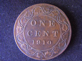 1910 - Canada - Large - One - Cent - Coin -  - Canadian - Penny - 39 - K photo