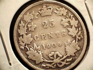 1900 Canadian Twenty Five (25) Cent Coin.  Queen Victoria photo