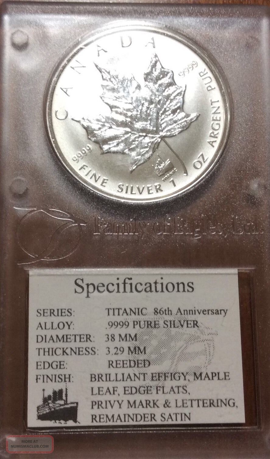 1998 Titanic 86 Anniversary Silver Maple Leaf Coin 5