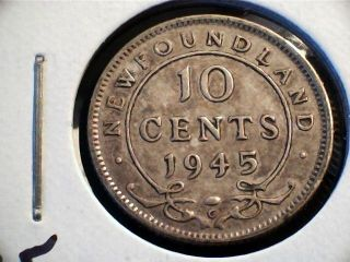 1945 Newfoundland Ten Cent Coin.  Pre - Confederation Canada photo